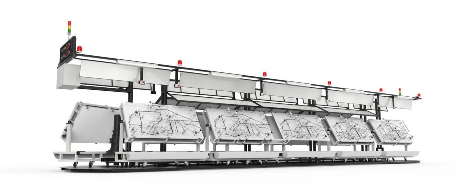 运行方式 | 将线束工作台置于行走台车的双面支架上,在经变频调速后的输送 在末端外回转绕行至另一列的首端。作整体连续的环状运行。 优点 | n 工作台车在台板上行走,生产台车运行平稳、安全性高 n 工作台面角度可调、运行速度变频可调 n 每工位设有急停、启动装置、照明、物料架、作业指导书看板